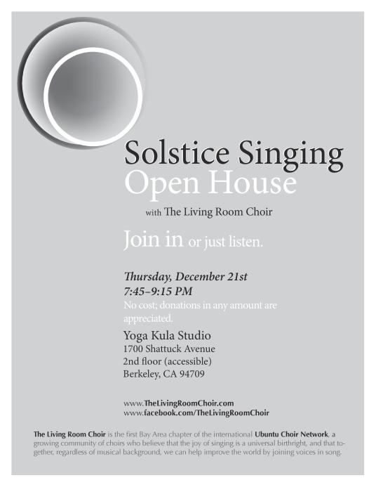 Solstice Singing: December 2017 at Yoga Kula